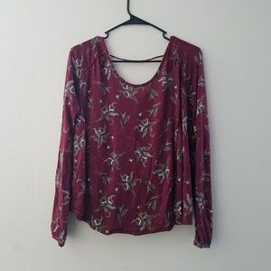 Free People Floral Overlap Blouse S